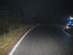 Nehoda na silnici třetí třídy mezi Dolní Černou Studnicí a Hutí
