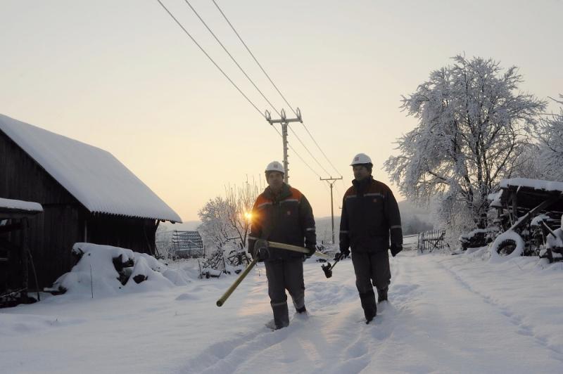 Pracovníci ČEZ při zimní obchůzce<br />Autor: Archiv ČEZ