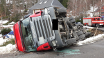 Havarovaný kamion v Janově nad Nisou