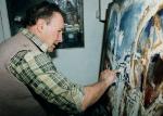 Josef Jíra v ateliéru na Malé Skále, 1996