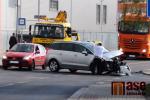 Nehoda dvou aut v ulici Želivského v Jablonci nad Nisou
