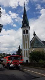 Požár kostelní věže v ulici Markova v Liberci