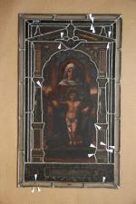 Novorenesanční vitráž Madona s dítětem