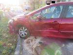 Nehoda dvou aut na křižovatce ulic U Balvanu a Nová Pražská v Jablonci