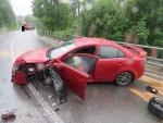 Srážka osobního auta s kamionem v Lučanech nad Nisou
