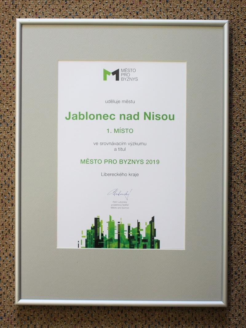Diplom Město pro byznys 2020<br />Autor: Archiv magistrátu města Jablonec nad Nisou