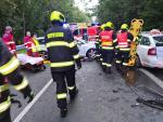 Nehoda dvou osobních aut na silnici I/10 v obci Malá Skála